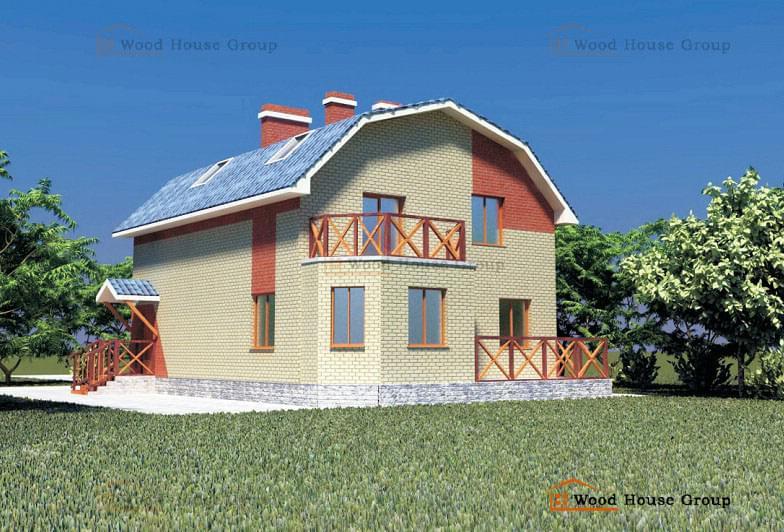 Дом с облицовкой кирпичом «Александра» (арт. 74/10)