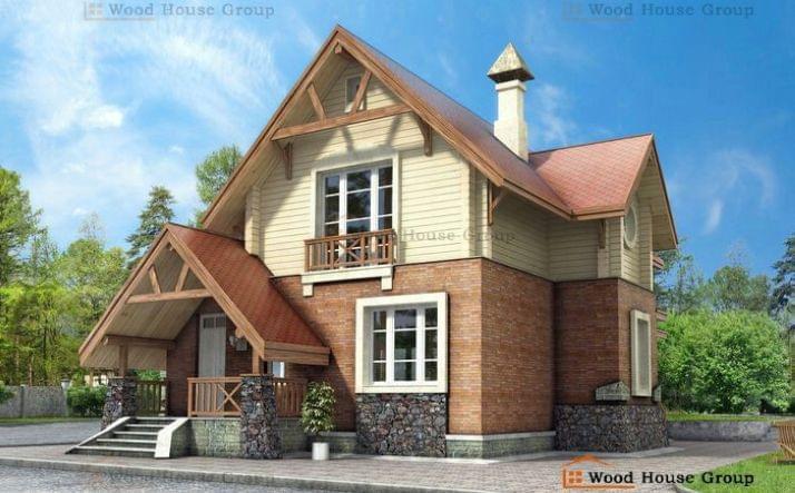 Двухэтажный дом из пеноблоков «Альпенхаус» (99A)
