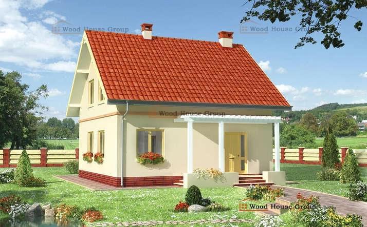 Одноэтажный дачный дом с мансардой из пеноблоков «Амбиция» (E-699)