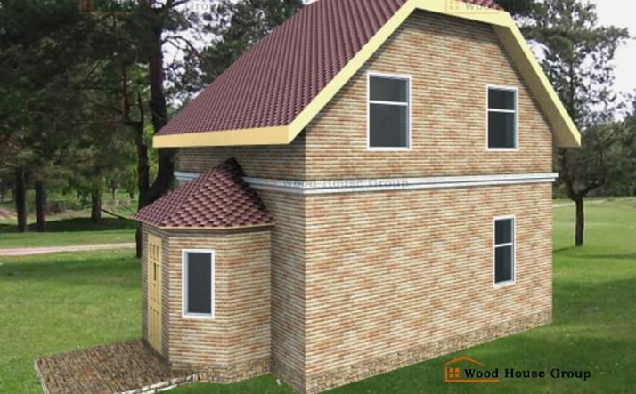 Гостевой двухэтажный дом из пеноблоков «Андрей»