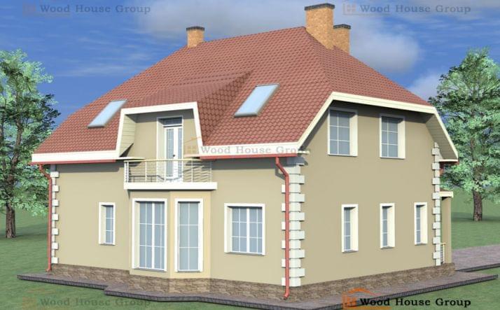 Одноэтажный дом с мансардой эконом из пеноблоков «Антон»