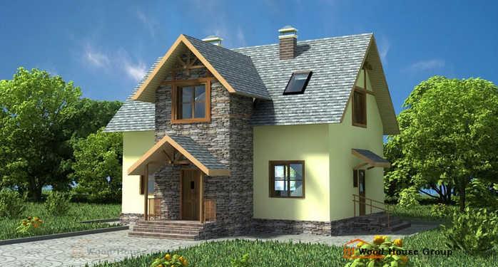 Дом из газобетона Дом эконом 130 · Проект дома из пеноблоков