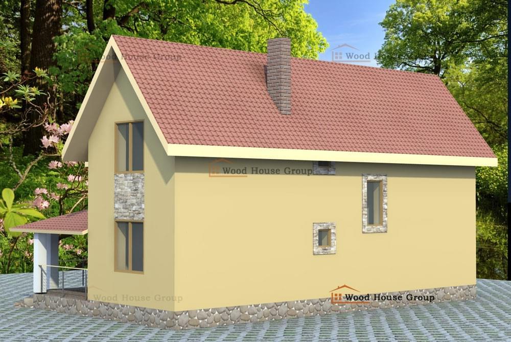 Дом с отделкой фасада деревом