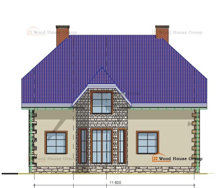Проект в подарок.  Индивидуальный двухэтажный жилой дом с размерами в осях 11,6м X 8,78м...