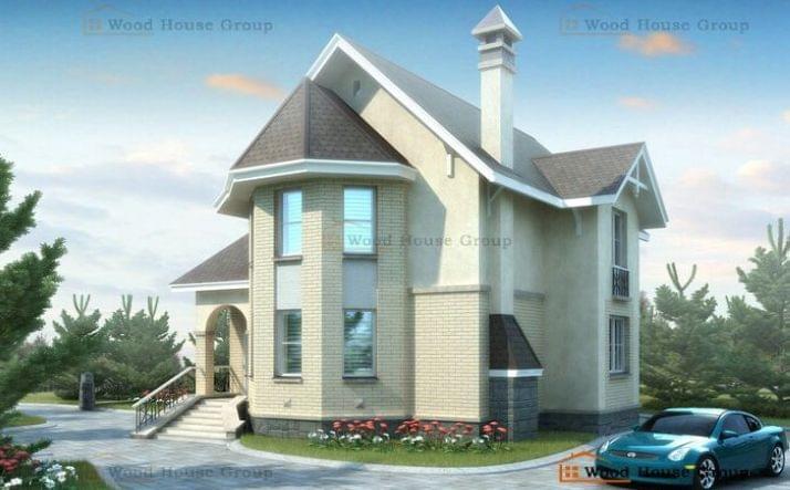 Дом из пеноблоков с мансардой «Фортуна» (40B)