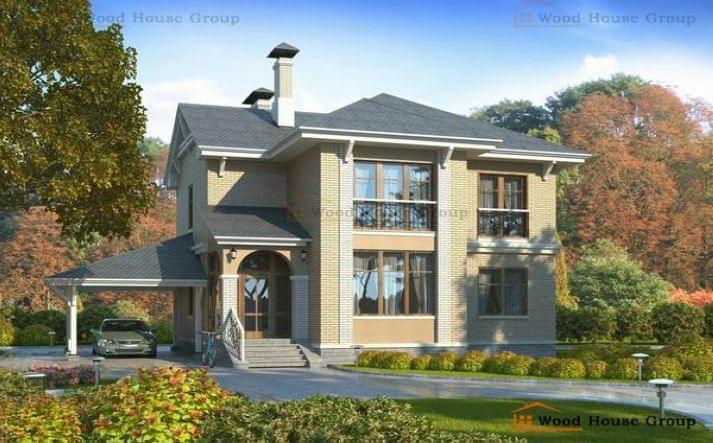 Дачный дом из пеноблоков с террасой «Гармония» (82A)