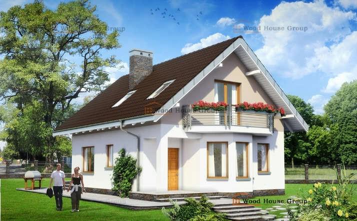 Проект дачного одноэтажного дома из пеноблоков «Крошка» (E-697)