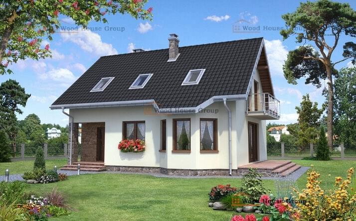 Проект дачного дома из пеноблоков с мансардой «Лещина Рекс» (E-957)
