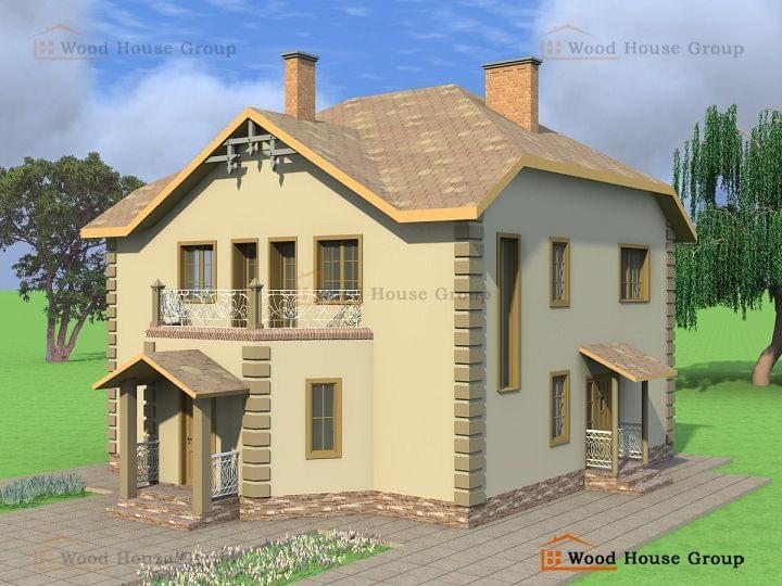 """Проект загородного дома с балконом """"марсель""""."""