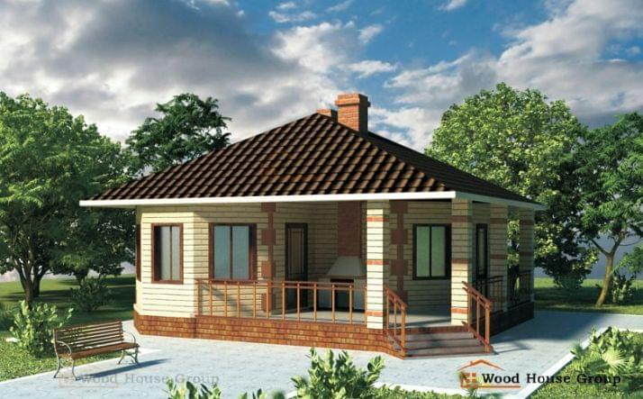 Одноэтажный дом из пеноблоков «Михаил»