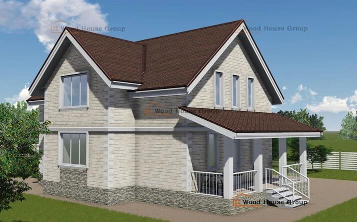 Одноэтажный дом с мансардой из пеноблоков «Подмосковье»