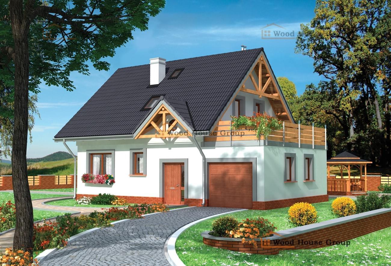 Проект небольшого дома с мансардой и просторным гаражом dom4.