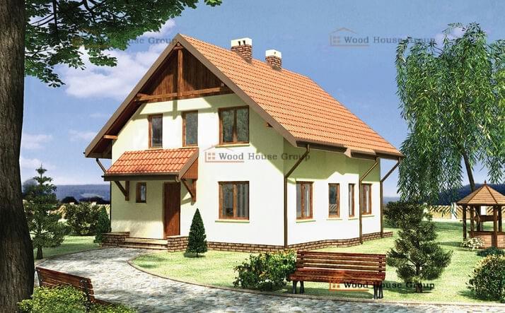 Проект одноэтажного дома с мансардой из пеноблоков «Шмель» (E-509)