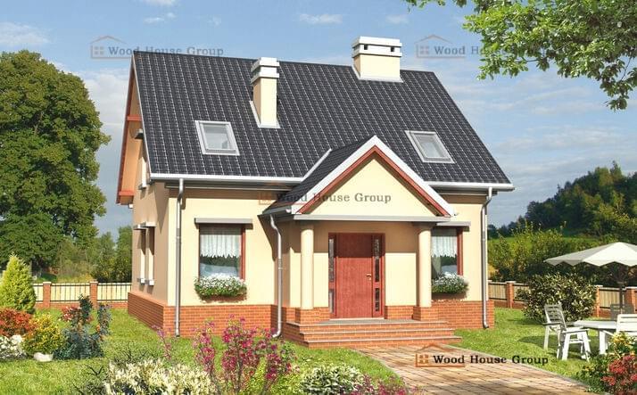 Дом одноэтажный с мансардой из пеноблоков «Стас» (E-575)