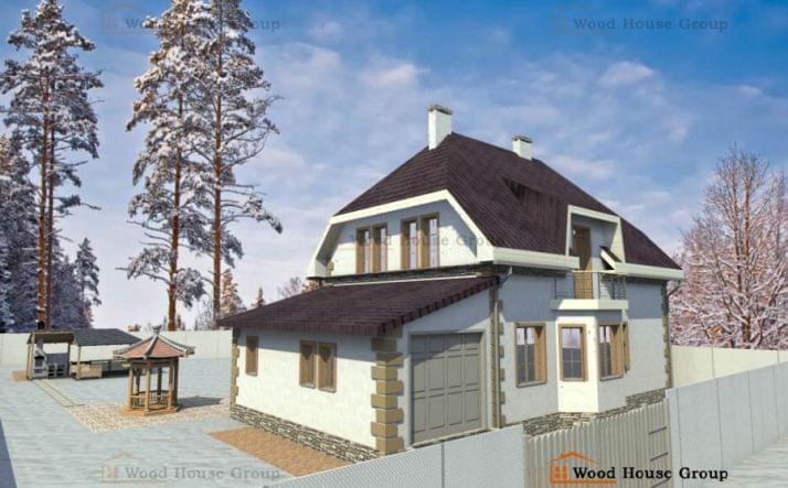 Дом эконом-класса из пеноблоков с гаражом «Светлана»