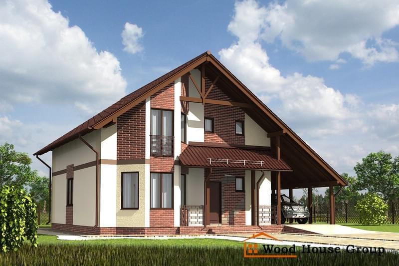 """Дом с мансардой проект э238, эскиз 1 качественный дом - """"гру."""