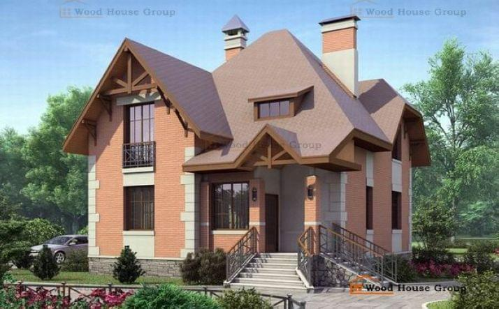 Двухэтажный дом из пеноблоков «Ягерхаус»