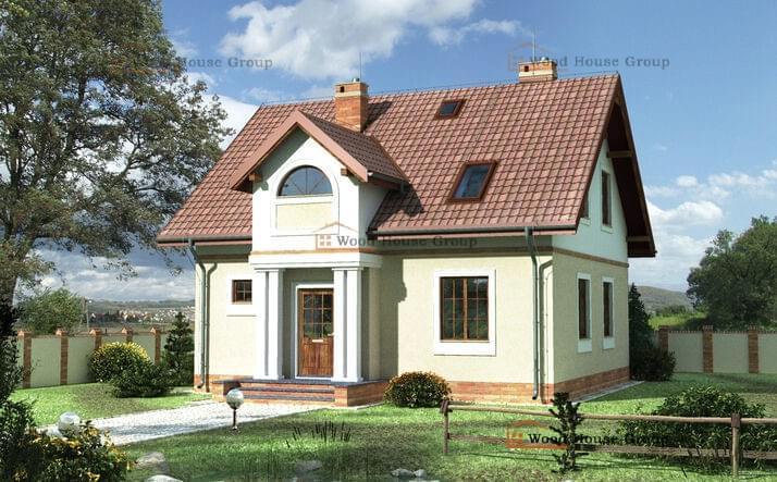 Одноэтажный дом с мансардой из пеноблоков «Яромир» (E-564)