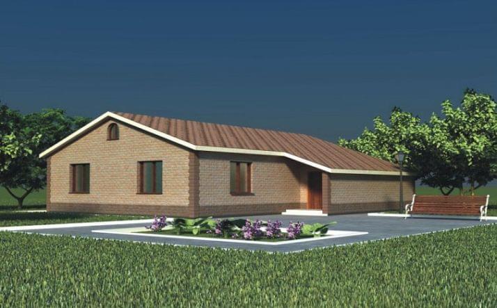Одноэтажный жилой дом с двухскатной крышей «Завидово» (70/10)